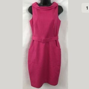 David Meister Dark Pink Cotton Textured Dress 4